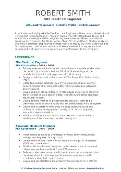 sample electrical engineering resume pdf application for