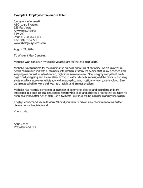 sample employment guarantor letter employment reference letter sample letters