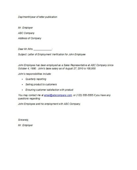 sample employment guarantor letter proof of employment letter best sample letter