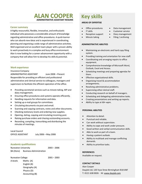 beautiful resume for secretary contemporary simple resume office