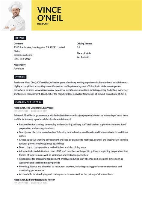 sample head chef cv template head chef resume sample chef resumes livecareer