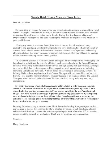 Letter Of Application General Manager Sample Hotel Cover