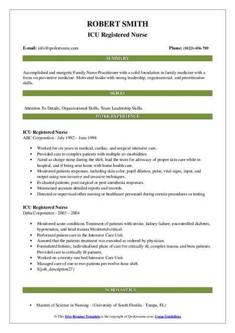 sample icu nurse resume nurse resume sample 13 certified nursing