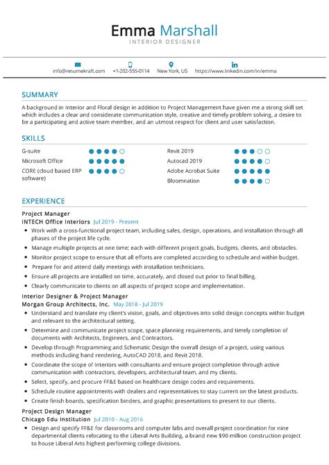 resume examples for interior design interior design resume sample monster - Interior Designer Resume Samples