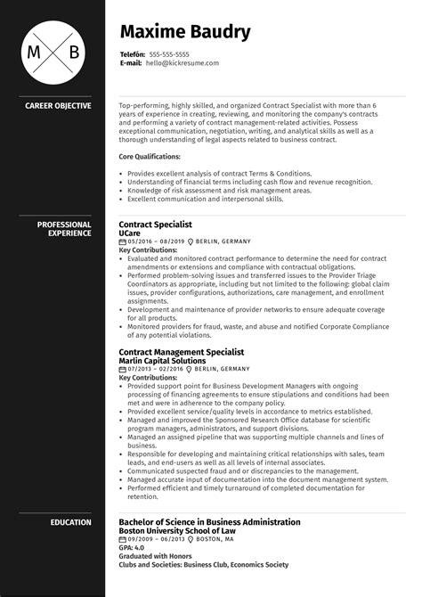 sample contract specialist resumes