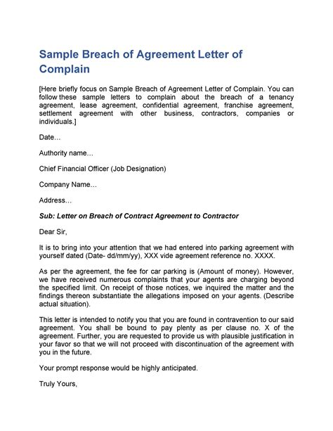 Sample Letter For Contract Amendment Breach Of Contract Notice Sample Letter Rocket Lawyer