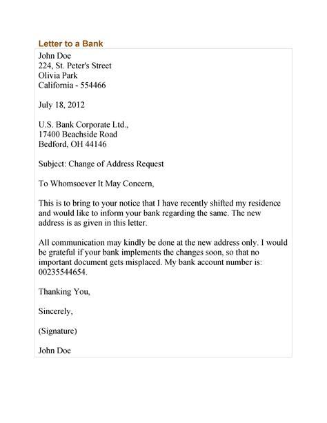Sample Letter Change Account Number Change Of Address Request Letter Free Sample Letters