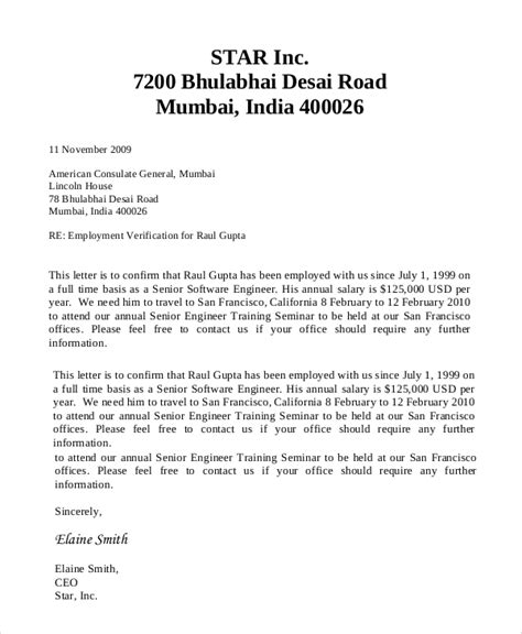 sample letter to request employment verification employment verification letter sample and template