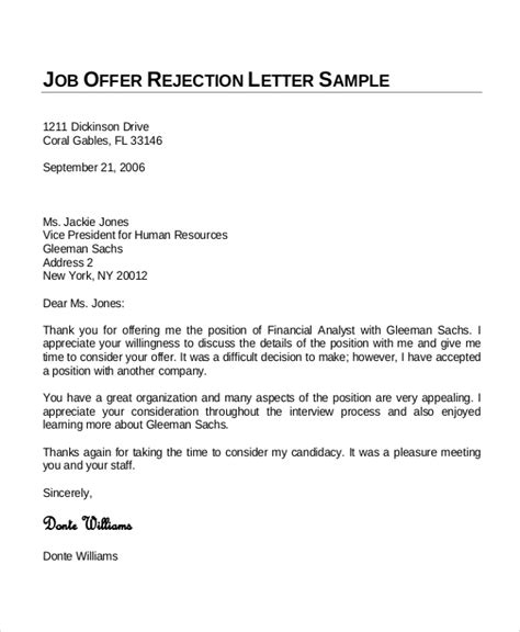 sample letter declining a job offer after accepting it