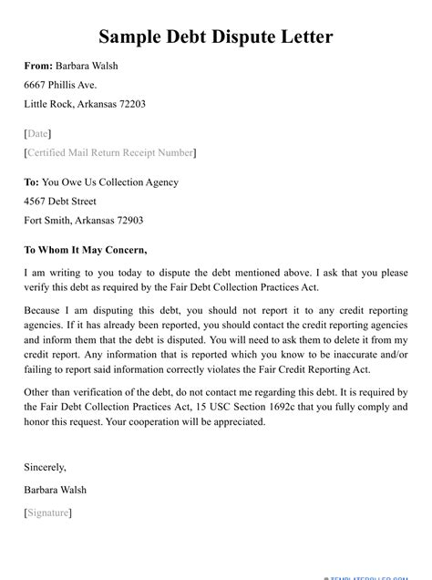 legal dispute letter template sample letter to collection agency disputing debt