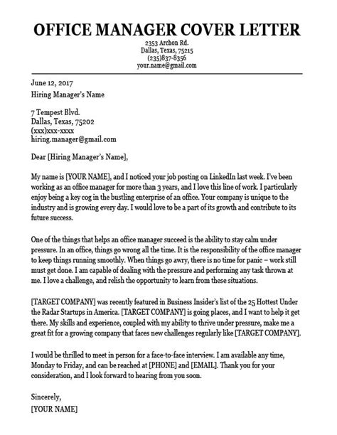 Sample Manager Cover Letter | Professional Resume Headings