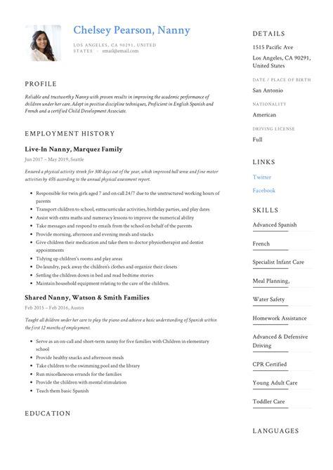 nanny. Resume Example. Resume CV Cover Letter