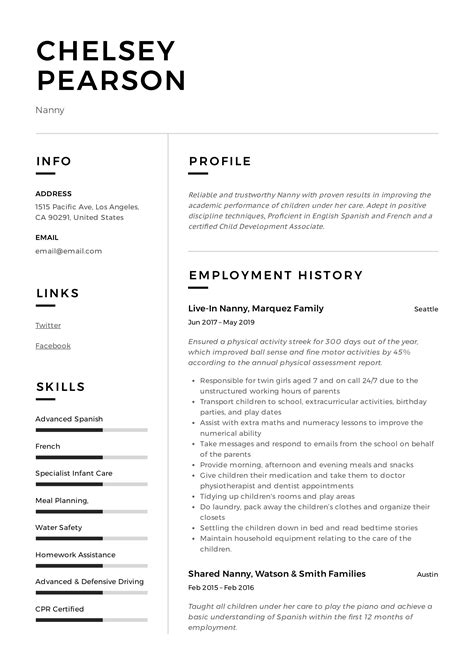 Sample Of Resume As Nanny Best Nanny Resume Example Livecareer