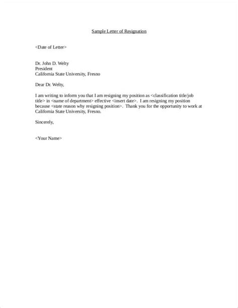 Sample Of Resignation Letter Of A Nurse Employee Resignation Letter Sample Templates