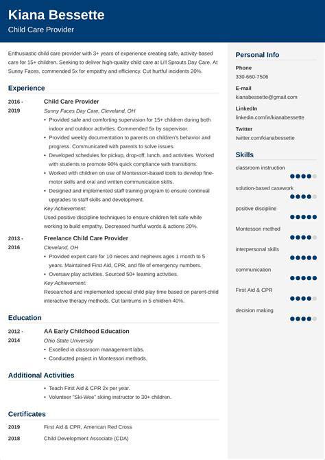 Sample Of Resume As Nanny Sample Childcare Resume Westside Nannies