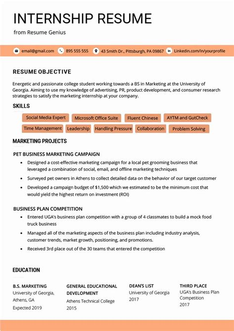 sample of internship resume in malaysia student internship resume sample