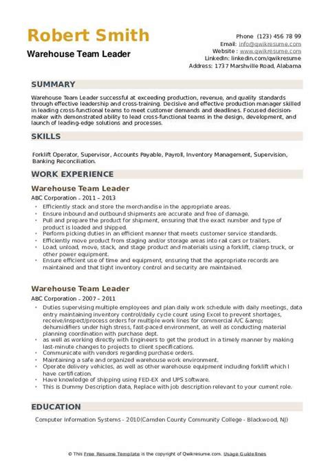 Sample Of Detailed Resume With Job Description Warehouse Team Leader Job Description Sample Duties And