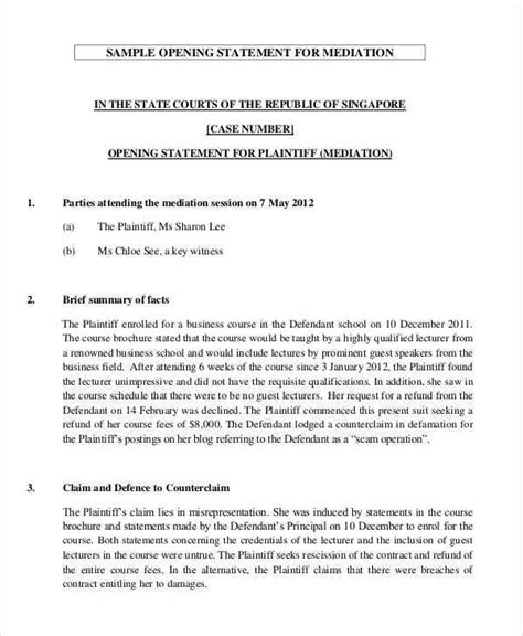 Court Opening Statement Defendant Sample Opening Statement For Mediation Statecourtsgovsg