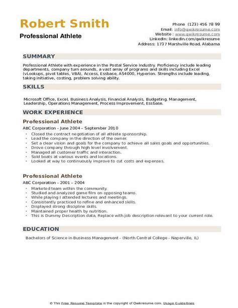 sample professional athlete resume sample athletic resumes ncsa athletic resume