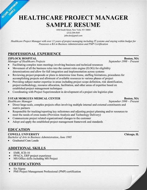 Sample Project Manager Resume Healthcare Healthcare Project Manager Resume Samples Jobhero
