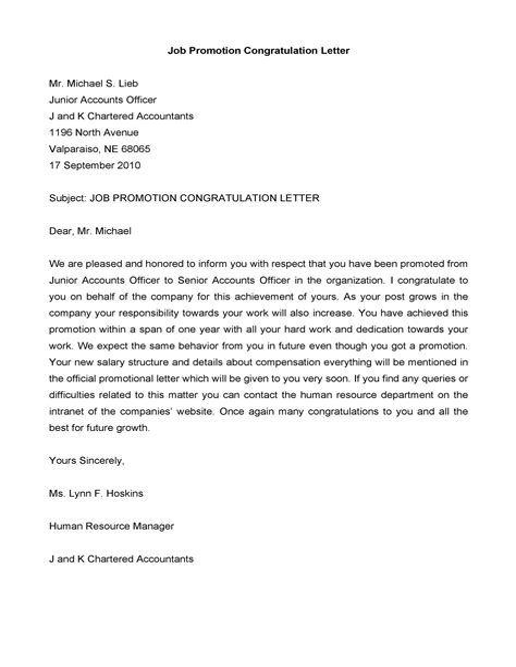 Sample Promotion Letter To Manager Promotion Letter For Manager Free Sample Letters