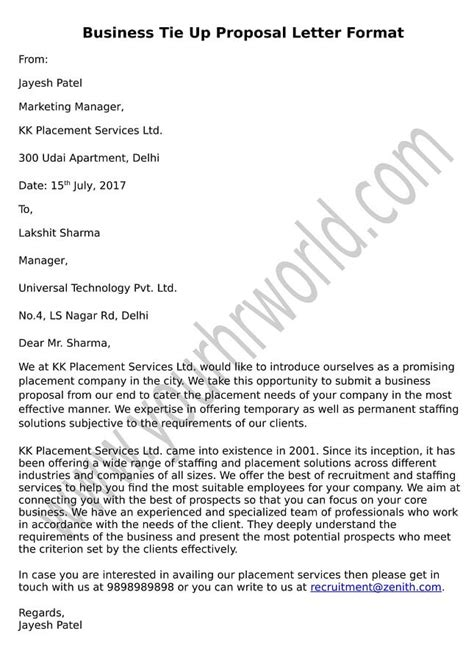 sample proposal letter for business tie up copy of room rental