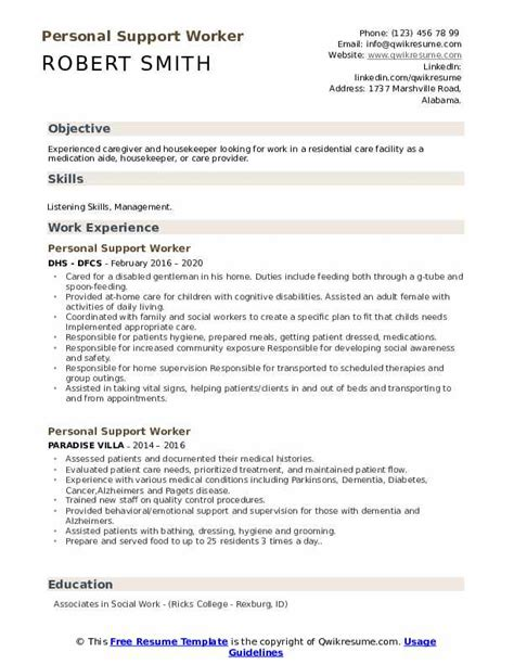 personal support worker resume resume ideas