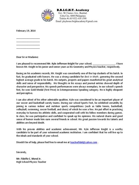 reference letter format for college admission sample recommendation letter undergrad student
