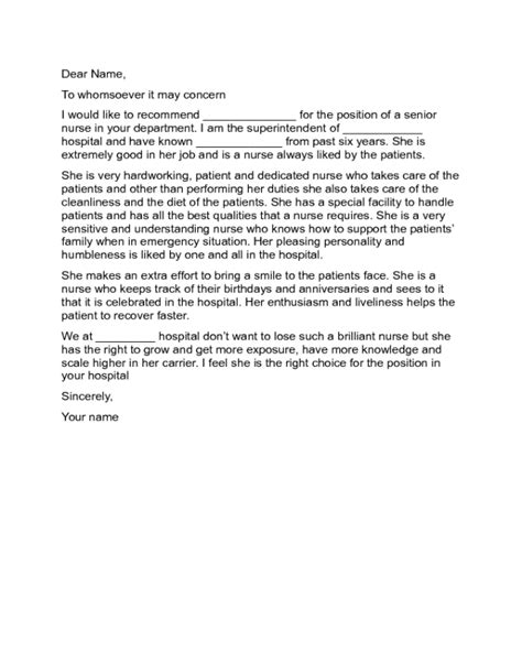 Sample Reference Letter For Nurses Given By Previous Employer Nursing Letter Of Recommendation Letters Free Sample