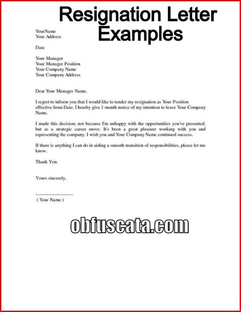Internship Resignation Letter Sample Letters