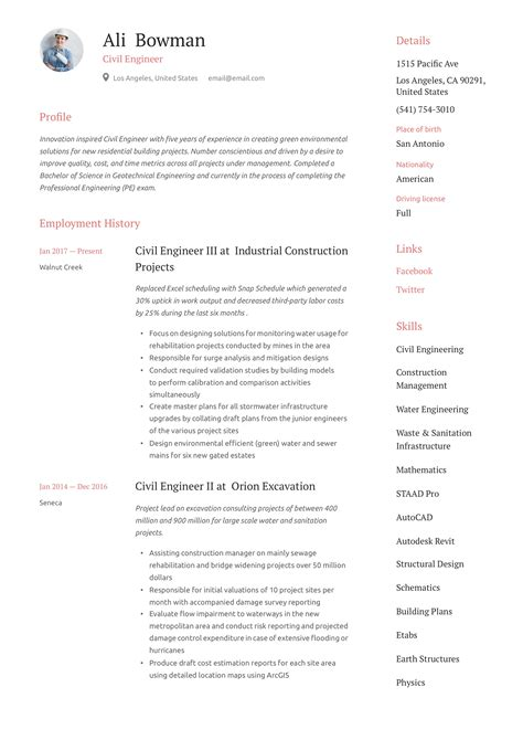 Sample Resume For A Mid Level Civil Engineer 16 Civil Engineer Resume Templates Free Samples Psd