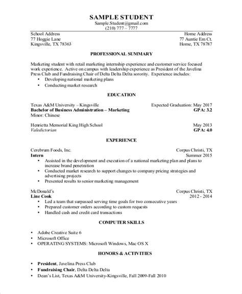 engineering student resume for internship