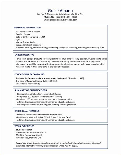 Sample Resume Format Of Fresh Graduate 2 Fresh Graduate Resume Samples Examples Download Now