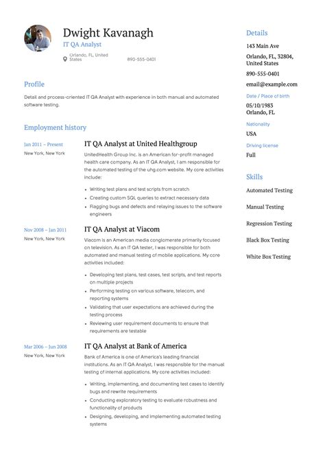 sample resume of senior qa analyst 2 qa analyst resume samples examples download now