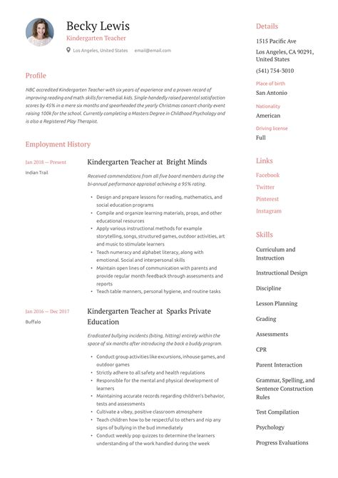 sample resume of kindergarten teacher 6 kindergarten teacher resume samples examples download