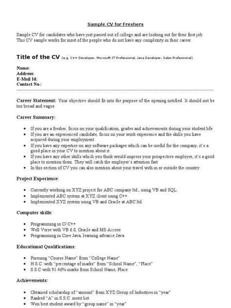 Sample Resume For Freshers 8 Freshers Resume Samples Examples Download Now