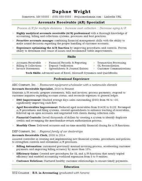 Sample Resume For Revenue Accounting Account Receivable Resume Sample