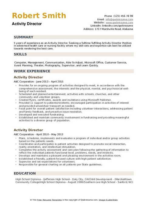 Sample Resume Activities Director Sample Introduction Letter For - Activity director cover letter