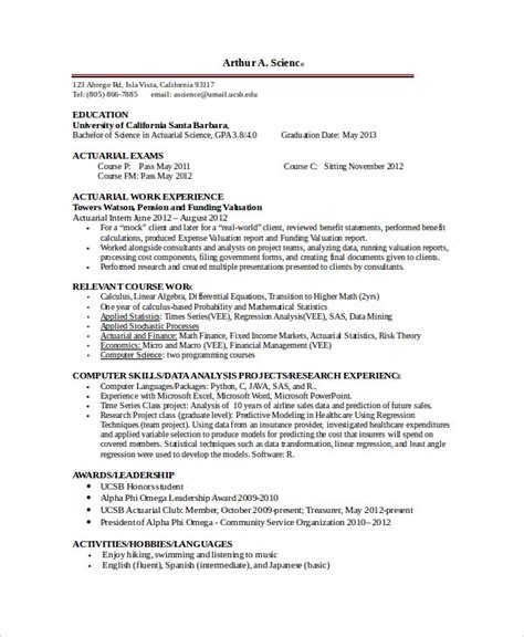sample resume for actuarial internship resume ixiplay free