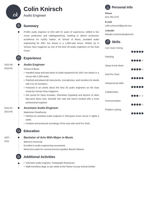 Sample Resume Audio Engineer | How To Create A Best Resume