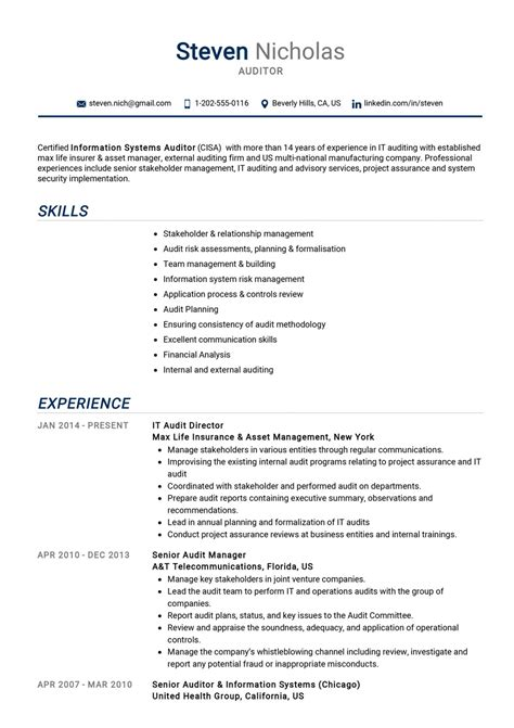 Sample Resume For Accounting Firm Auditor Sample Resume Accountingjobstoday
