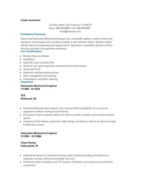 sample resume automotive design engineer automotive mechanical engineer resume sample livecareer - Automotive Design Engineer Sample Resume