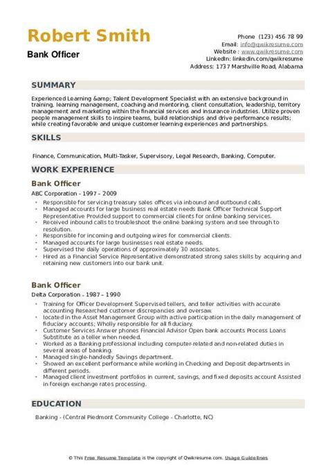Sample Resume Bank Officer Bank Officer Resume Samples Jobhero