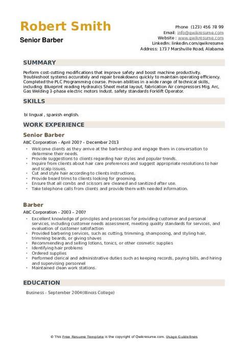 Sample Resume For Teacher Profession Barber Sample Resume Cvtips