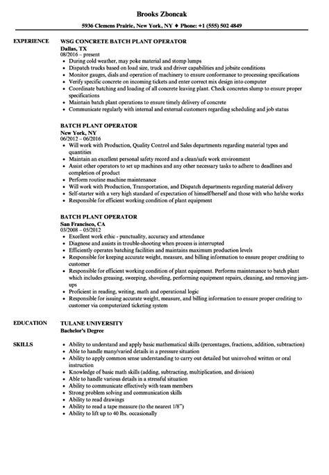 Sample Resume Format In Malaysia Batch Plant Operator Job Duties Resume Sample