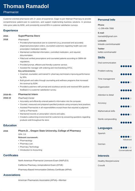 Sample Resume For Experienced Pharmacist Best Pharmacist Resume Example Livecareer