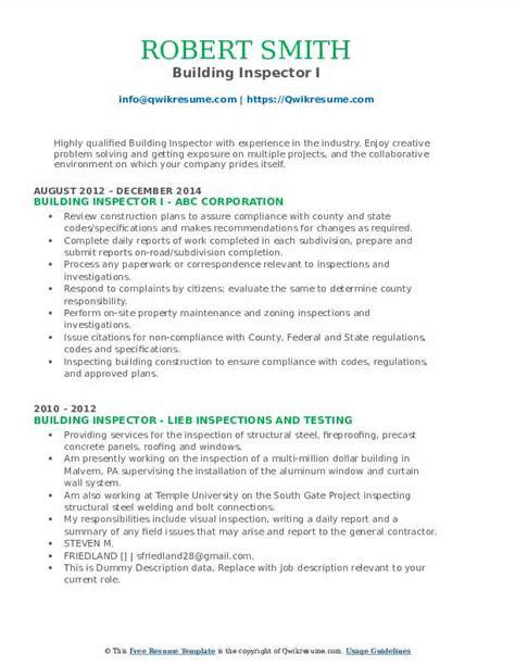 sample resume building inspector building inspector resume sample livecareer - Building Inspector Resume
