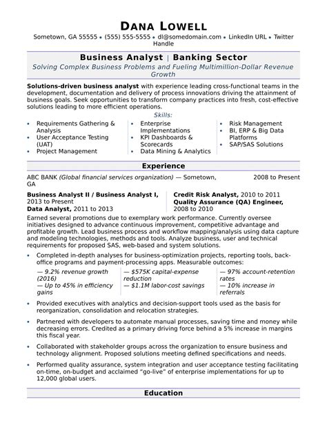 business analyst sample resume