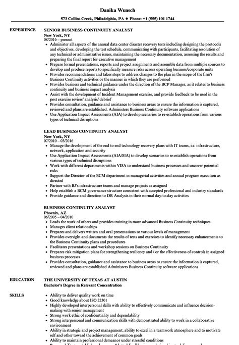 sample resume business continuity resume ixiplay free resume samples