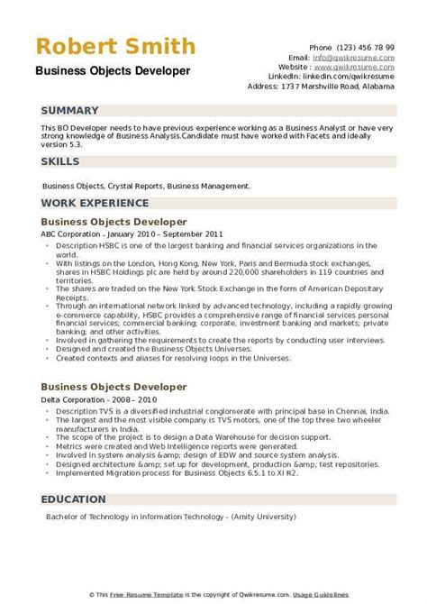 business objects resume samples template - Business Object Resume